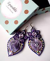 Náušnice - Sparkle - shibori šujtášové fialové náušnice - 10193173_