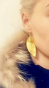 Náušnice - Kožené náušničky Zlaté listy  - 10194207_