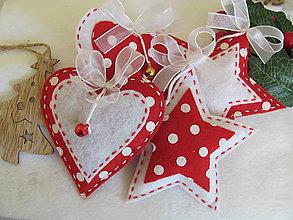 Dekorácie - vianočné srdiečka a hviezdičky - 10192871_