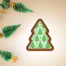 Dekorácie - Vianočné grafické perníky so vzorom - vianočné stromčeky nezdobené - 10191629_