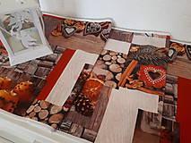 Stredový Vianočný obrus  (pomaranče,škorica,medovníky,drevo)