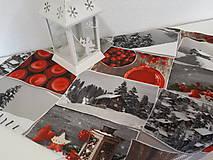 Úžitkový textil - Vianočný obrus (Zasnežená krajinka bez lemu) - 10195215_