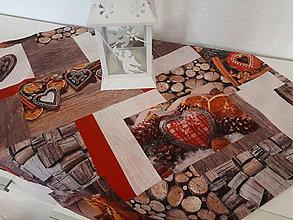 Úžitkový textil - Vianočný obrus (pomaranče,škorica,medovníky,drevo) - 10195163_