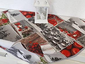 Úžitkový textil - Vianočný obrus (Zasnežená krajinka s lemom) - 10195183_