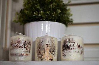 Svietidlá a sviečky - Sviečky so zimným motívom - 10197452_
