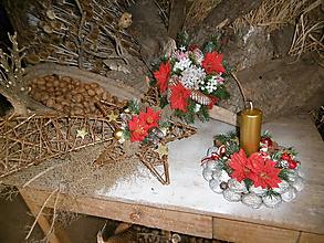 Dekorácie - Vianočný set (kytica+svietnik+betlehemská hviezda) - 10198263_
