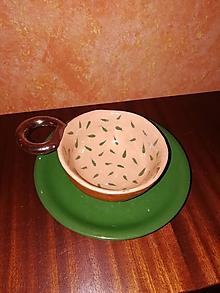 Nádoby - Šálka lístočková s tanierikom - 10195583_