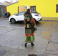 Kabáty - lel, žabičkový zelený maxi sveter - 10198775_