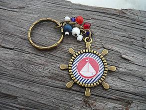 Kľúčenky - ZĽAVA - VÝPREDAJ :) Kľúčenka Námornícka lodička a prúžky - 10198819_