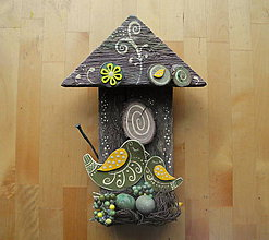 Dekorácie - Drev. dekorácia - Zelená vtáčia búdka - 10198526_
