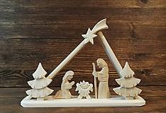 Dekorácie - Betlehem drevený - trojuholník malý - 10195364_