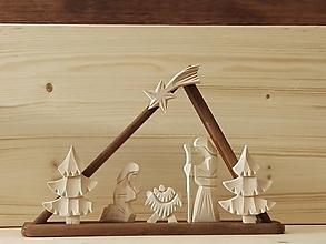 Dekorácie - Betlehem drevený - trojuholník malý - 10195331_