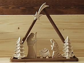 Dekorácie - Betlehem drevený - trojuholník veľký - 10195335_