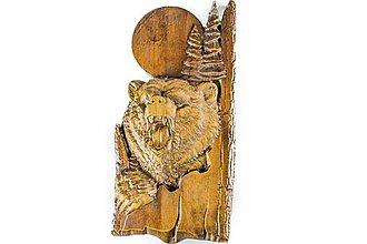 Dekorácie - Drevený medveď na stenu - 10198261_