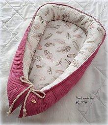 Textil - Hniezdo pre bábätko z vafle bavlny v staroružovej farbe - 10196324_