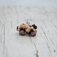 Náušnice - Brown elegance malé strieborné Ag925 - 10197797_