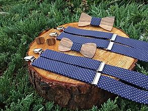Doplnky - Set otec a syn - drevené motýliky, manžetové gombíky a traky - 10195256_