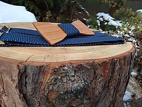 Doplnky - Pánsky drevený motýlik a traky - 10197816_