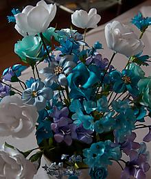 Dekorácie - Tyrkysová kytica - 10195408_