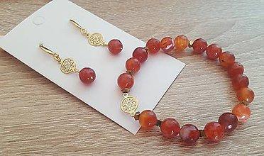Sady šperkov - Set - náramok, náušnice (pozlátené striebro, achát) - 10195747_