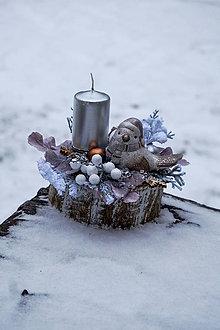 Svietidlá a sviečky - Vianočný svietnik s vtáčikom - 10197656_