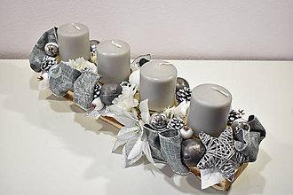 Svietidlá a sviečky - Adventný svietnik: Strieborné Vianoce 40408 - 10197160_