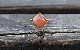 Prstene - Slnečný kameň prsteň Ag 925 s Au - 10196485_