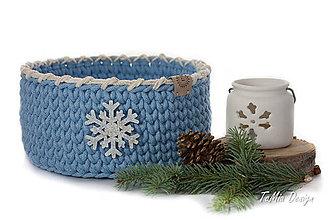 Košíky - Vianočný košíček s trblietavou vločkou - 10198870_
