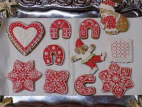Dekorácie - dekoratívne medovníčky...červené 11kusov - 10198354_