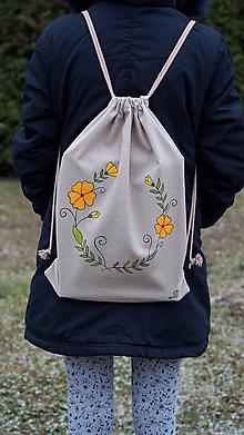 Batohy - Ručne maľovaný batoh z režnej bavlny- polovenček - 10196848_
