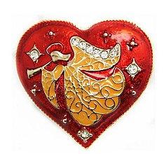 Galantéria - Brošnička anjelik v srdiečku so štrasovými kamienkami - 10198167_