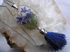 Náhrdelníky - Orgonit-prívesok modrý kvet so strapcom - 10198037_