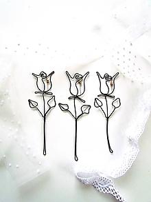 Dekorácie - ružička zlatá 17 cm - 10197761_