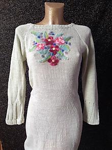 ae19141098ce Šaty - Rozkvitnuté pletené šaty s alpakou - 10198065