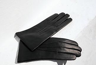 Rukavice - Černé pánské kožené rukavice s vlněnou podšívkou luxusní výběr - 10198755_