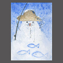 Obrazy - Sněhulák rybář - originál, akvarel a kvaš - 10196266_