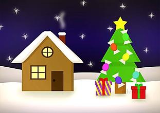 Grafika - Domček a vianočný stromček 5 (salónky) - 10195422_
