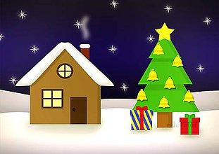 Grafika - Domček a vianočný stromček 7 (zvončeky) - 10195445_