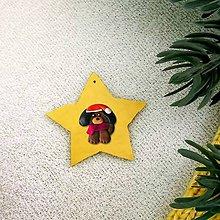 Dekorácie - Zvieracie vianočné ozdoby (hviezdička - psík) - 10196792_