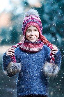Detské čiapky - melirovany setik - 10199492_