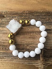 Náramky - Náramok alabaster s drúzou - 10199956_