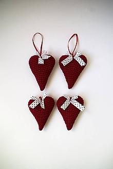 Dekorácie - Vianočné ozdoby | Srdiečka | na zavesenie | veľké | Bordová |tmavá | sada 4ks - 10202877_
