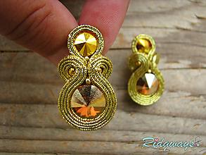 Náušnice - Simple Gold...soutache (Crystal Metallic Sunshine) - 10202070_