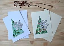 Papiernictvo - Vianočné pohľadnice-2 kusy-Stromček a vločka - 10199270_