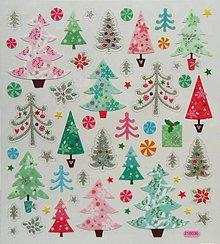 Papier - Sada samolepiek, 15x17 cm, vianočné, stromček - 10200496_