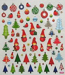 Papier - Sada samolepiek, 15x17 cm, vianočné, gule, stromčeky - 10201324_
