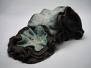 Šály - Šál s kvetom modro-hnedý - 10199096_