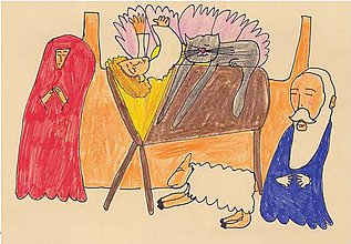 Papier - Andreas: Pohľadnice Vianoce  (Jasličky) - 10199134_