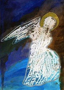 Papier - Andreas: Pohľadnice Vianoce  (Anjel so zlatou aurou) - 10199377_