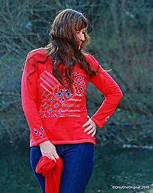 Tričká - Dámske tričko batikované, maľované, folk  HOREHRONKA - 10199661_